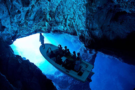 Blue Cave on island Bisevo, Croatia